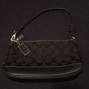 Coach black fabric and leather bag